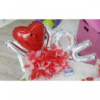 Confezione I Love You Dim: cm 50x30 h circa. Prodotto personalizzabile