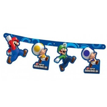Festone cartoons Sagome Super Mario Bros, bandierine cartone