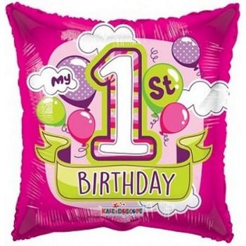 Festone Primo Compleanno Bambino, bandierine in plastica celeste 6 mt.
