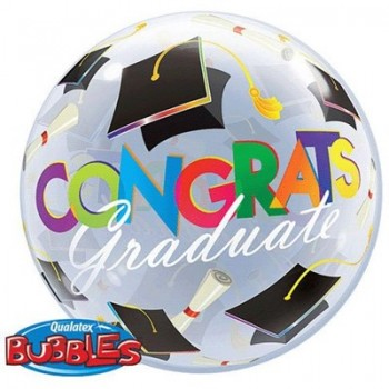 Palloncino Bubble Congrats Graduation Caps 56 cm.