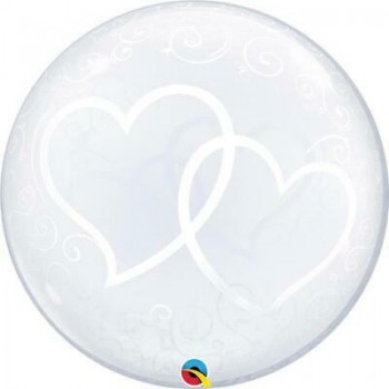 Palloncino Bubble Entwined Hearts 61 cm.