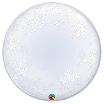 Palloncino Bubble Frosty Snowflakes 61 cm.