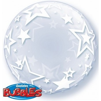 Palloncino Bubble Stylish Stars Double 61 cm.