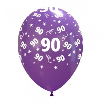 Palloncino in Lattice Rotondo 30 cm. Stampa 90° Compleanno Assortiti