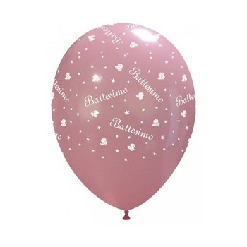 Palloncino in Lattice Rotondo 30 cm. Stampa Battesimo Rosa