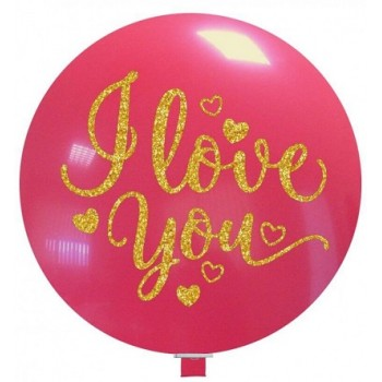 Palloncino in Lattice Rotondo 80 cm. Stampa I Love You