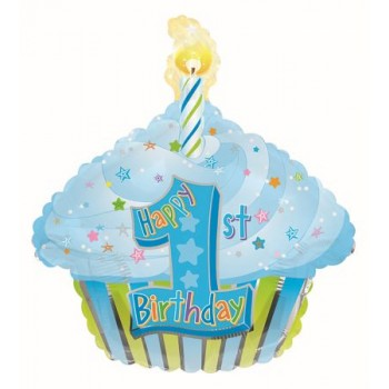 Palloncino Mylar 45 cm. 1° Birthday Blue