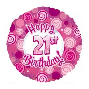 Palloncino Mylar 45 cm. 21° Happy Birthday Pink Dazzeloon