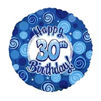 Palloncino Mylar 45 cm. 30° Happy Birthday Blue Dazzeloon