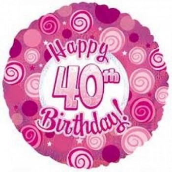 Palloncino Mylar 45 cm. 40° Happy Birthday Pink Dazzeloon
