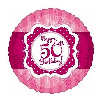 Palloncino Mylar 45 cm. 50° Happy Birthday Pink