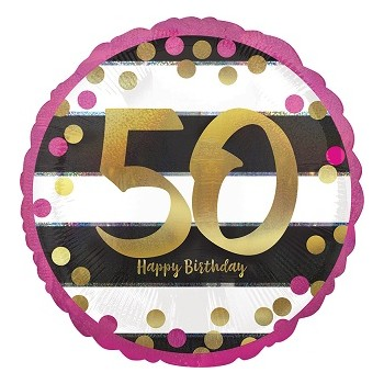 Palloncino Mylar 45 cm. 50° Pink & Gold Milestone