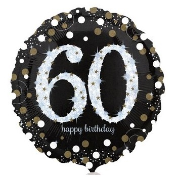 Palloncino Mylar 45 cm. 60° Age Sparkling Bday