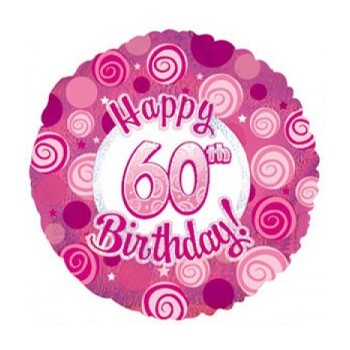 Palloncino Mylar 45 cm. 60° Happy Birthday Pink Dazzeloon