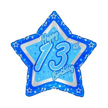 Palloncino Mylar 45 cm. Age 13° Birthday Blue Star