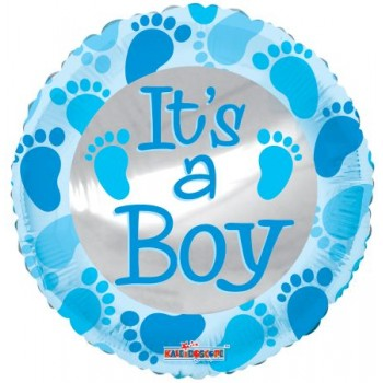 Palloncino Mylar 45 cm. Baby Blue Foot Prints