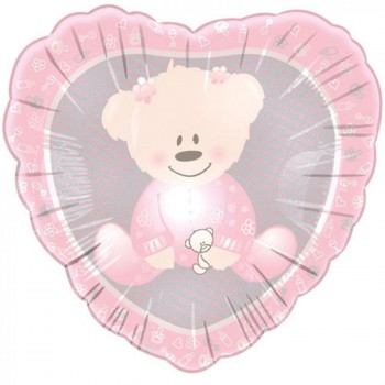 Palloncino Mylar 45 cm. Baby Christening Girl Bear
