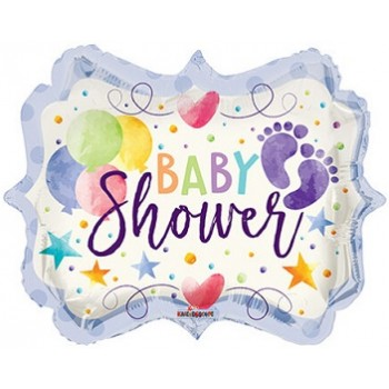Palloncino Mylar 45 cm. Baby Shower Watercolor Shape
