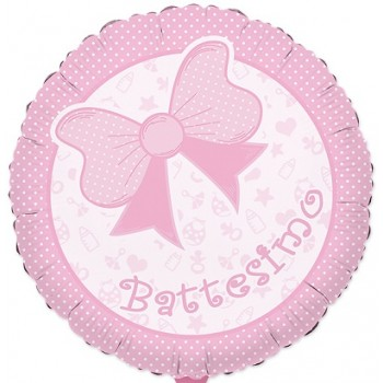 Palloncino Mylar 45 cm. Battesimo Baby Rosa