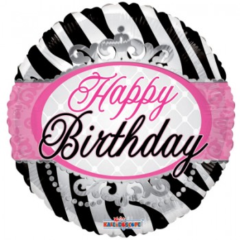 Palloncino Mylar 45 cm. Birthday Zebra Print
