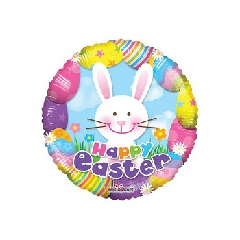 Palloncino Mylar 45 cm. Colorful Easter With Bunny