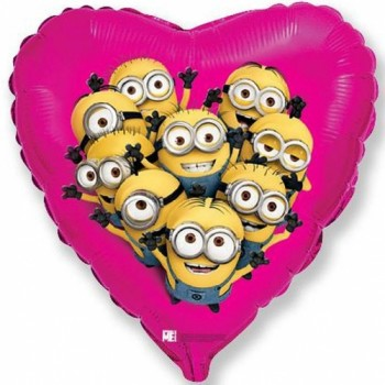 Palloncino Mylar 45 cm. Despicable Me Minions Party Heart