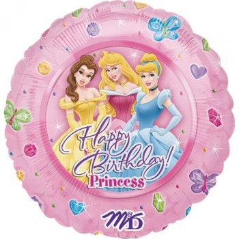 Palloncino Mylar 45 cm. Disney Princess Happy Birthday