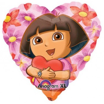 Palloncino Mylar 45 cm. Dora The Explorer Hearts Hug