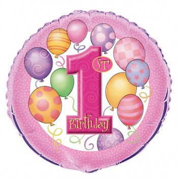 Palloncino Mylar 45 cm. First Birthday 1° Pink