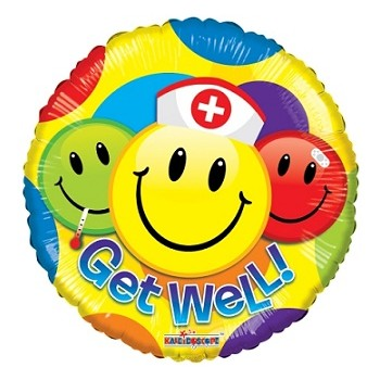 Palloncino Mylar 45 cm. Get Well Smiley