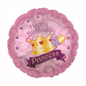Palloncino Mylar 45 cm. Happy Birthday Day Princess Crown Gems