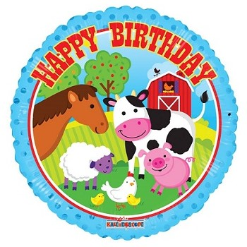 Palloncino Mylar 45 cm. Happy Birthday Farm Animals
