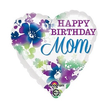 Palloncino Mylar 45 cm. Happy Birthday Mom Watercolor