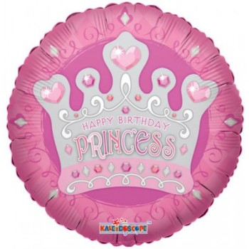 Palloncino Mylar 45 cm. Happy Birthday Princess Tiara