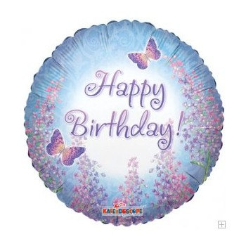 Palloncino Mylar 45 cm. Happy Birthday Purple Lilacs