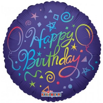 Palloncino Mylar 45 cm. Happy Birthday Rainbow Elements