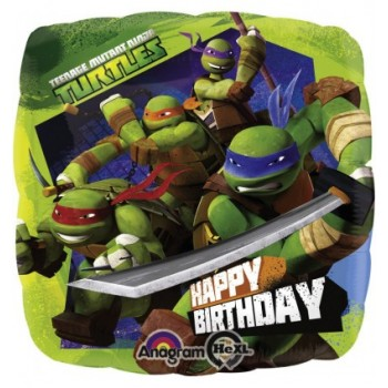 Palloncino Mylar 45 cm. Happy Birthday Teenage Mutant Ninja Turtles