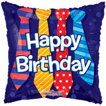 Palloncino Mylar 45 cm. Happy Birthday Ties