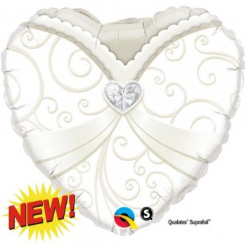 Palloncino Mylar 45 cm. Heart Wedding Gown