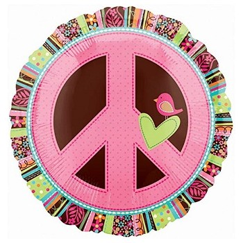 Palloncino Mylar 45 cm. Hippie Chick Peace Sign