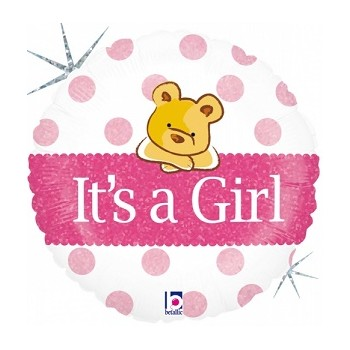 Palloncino Mylar 45 cm. Holographic Balloon Baby Girl Bear