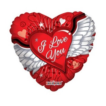Palloncino Mylar 45 cm. I Love You Balloon Heart With Wings