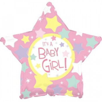Palloncino Mylar 45 cm. It's A Girl Pink Star