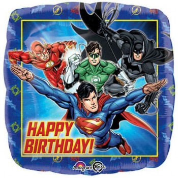 Palloncino Mylar 45 cm. Justice League Happy Birthday