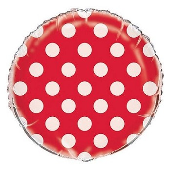 Palloncino Mylar 45 cm. Lovely Red Polka Dots
