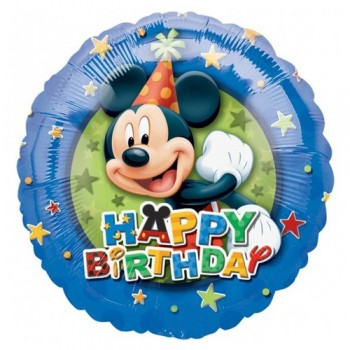 Palloncino Mylar 45 cm. Mickey Mouse Birthday Stars Border