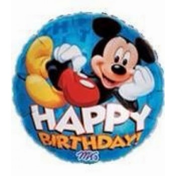 Palloncino Mylar 45 cm. Mickey Mouse Happy Birthday Blue