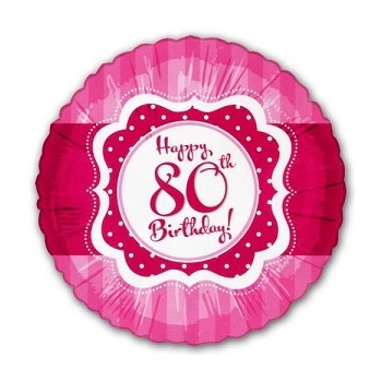 Palloncino Mylar 45 cm. Perfect Pink 80 Happy Birthday