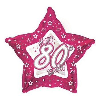 Palloncino Mylar 45 cm. Pink & Silver 80 Happy Birthday