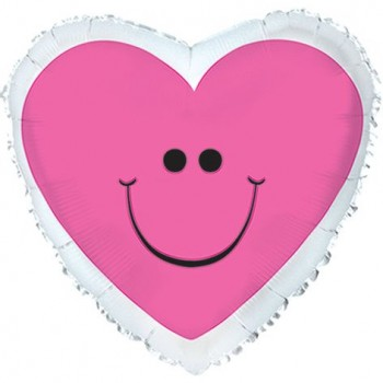 Palloncino Mylar 45 cm. Pink Smiley Heart